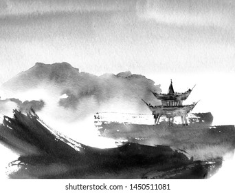 Watercolor and ink illustration of chinese landscape with pagoda in style sumi-e, u-sin. Traditional asian architecture. Oriental traditional painting.