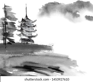 Watercolor and ink illustration of chinese landscape with pagoda and trees in style sumi-e, u-sin. Traditional asian architecture. Oriental traditional painting.