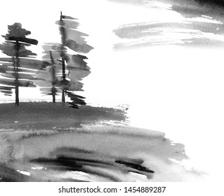 Watercolor and ink illustration of chinese landscape trees and cloudy sky. Art in style sumi-e, u-sin. Traditional asian architecture. Oriental traditional painting.