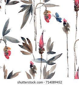 Watercolor and ink illustration of flower buds and batterfly. Sumi-e, u-sin painting. Seamless pattern.