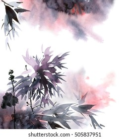 Watercolor and ink illustration of flower and leaves with smoke in style sumi-e, u-sin. Oriental traditional painting. Decorative background.