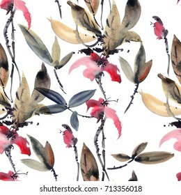 Watercolor and ink illustration of flower. Sumi-e, u-sin painting. Seamless pattern background.