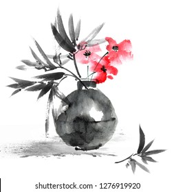 Watercolor and ink illustration of flower in vase, sumi-e and u-sin oriental traditional painting, decorative background for postcard, invitation, greeting card