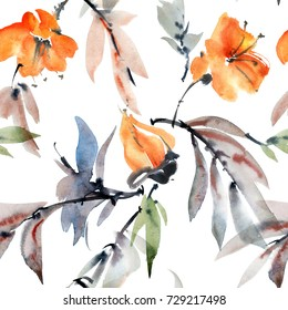 Watercolor and ink illustration flowers and leaves. Sumi-e, u-sin painting. Seamless pattern.