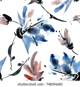 Watercolor and ink illustration of flowers with leaves. Sumi-e, u-sin painting. Seamless pattern.