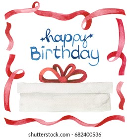 Watercolor ink illustration of a gift present wrapped in white paper with red ribbon bow and happy birthday lettering isolated on white background