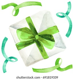 Watercolor ink illustration of a gift present wrapped in white paper with green ribbon bow isolated on white background