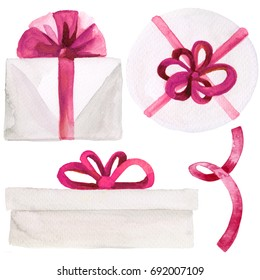 Watercolor ink illustration of a gift present wrapped in white paper with pink ribbon bow isolated on white background