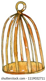Watercolor and ink illustration of  golden cage. Hand drawn object.
