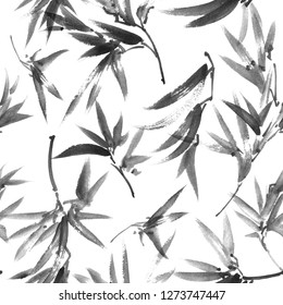 Watercolor and ink illustration of leaves, sumi-e and u-sin painting, seamless pattern