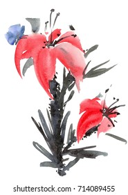 Watercolor and ink illustration of lily flower with batterfly. Sumi-e, u-sin painting.