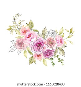 Watercolor and ink illustration. Painted composition of flowers. Element for design. Greeting card. Valentine's Day, Mother's Day, Wedding, Birthday