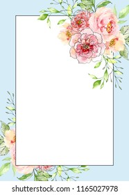 Watercolor and ink illustration. Painted frame with flowers and leaves. Border, background. Greeting card. Valentine's Day, Mother's Day, wedding, birthday. Place for text