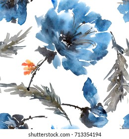 Watercolor and ink illustration of peony flowers with batterfly. Sumi-e, u-sin painting. Seamless pattern.