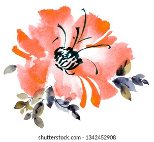 Watercolor and ink illustration of red flower. Sumi-e, u-sin painting.