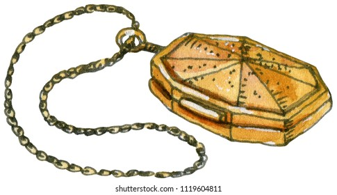 Watercolor and ink illustration of Slytherin's Horcrux Locket. Hand drawn object