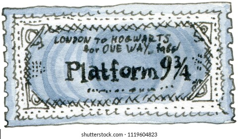 Watercolor and ink illustration of Train ticket to Hogwarts Express. Hand drawn object