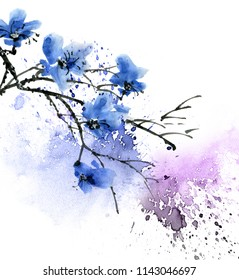 Watercolor and ink illustration of tree branch with blue flowers and watersplash, sumi-e u-sin painting, illustration on white background