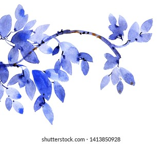 Watercolor and ink illustration of tree foliage in style sumi-e, u-sin. Oriental traditional painting. Background for decorative card, invitation or cover.