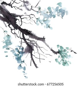 Watercolor and ink illustration of tree foliage in style sumi-e, u-sin. Oriental traditional painting.