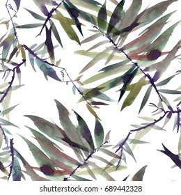 Watercolor and ink illustration of tree foliage in style sumi-e, u-sin. Oriental traditional painting. Seamless pattern.