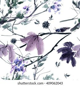Watercolor and ink illustration of  tree and insects. Gohua, sumi-e, u-sin painting. Seamless pattern.