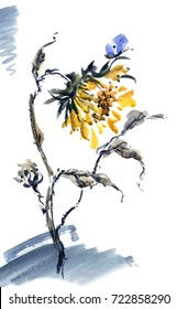 Watercolor and ink illustration. Yellow sunflower with blue batterfly. Style sumi-e and u-sin. Oriental traditional painting.