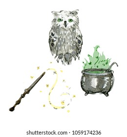 Watercolor and ink illustrations set of caldron, wand and owl. Hand drawn objects.