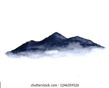 watercolor ink landscape mountain fog . Traditional oriental. asia art style.isolated on a white background