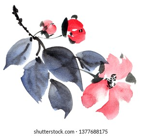 Watercolor and ink painted flower with leaves in style sumi-e, u-sin. Oriental traditional painting. Decorative element for invitation, cover or greeting card.
