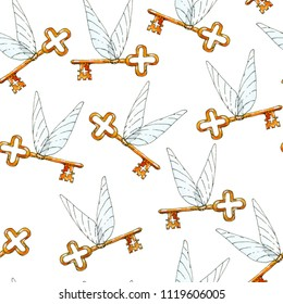 Watercolor and ink seamless pattern illustration with winged keys on white background. Hand drawn object