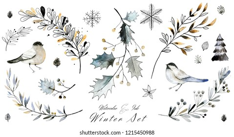 Watercolor and ink winter Christmas clipart collection. Elegant hand painted illustrations for cards and decorations