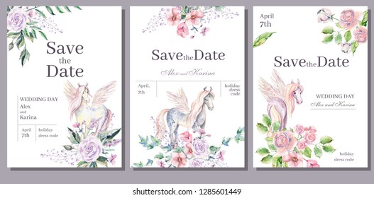 Watercolor invitation card template for wedding or romantic design. Floral composition and cute pony pegasus. Hand drawn illustration.