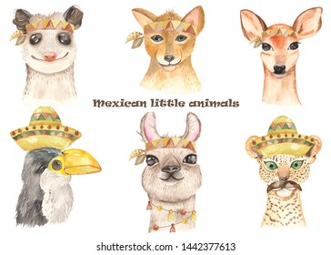 Watercolor invitation poster with cute cartoon llamas, possum, jaguar in headbands. Illustrations with portraits of Mexican animals are great for greeting cards, baby shower, baby design, party, birth