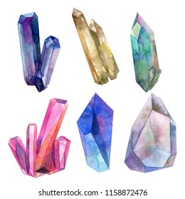 Watercolor isolate colorful Crytal Gemstone Bundle