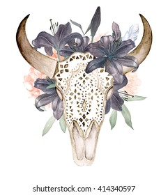 Watercolor isolated bull's head with flowers and feathers on white background. Boho style. Ornamental skull on black background for wrapping, wallpaper, t-shirts, textile, posters, cards, prints
