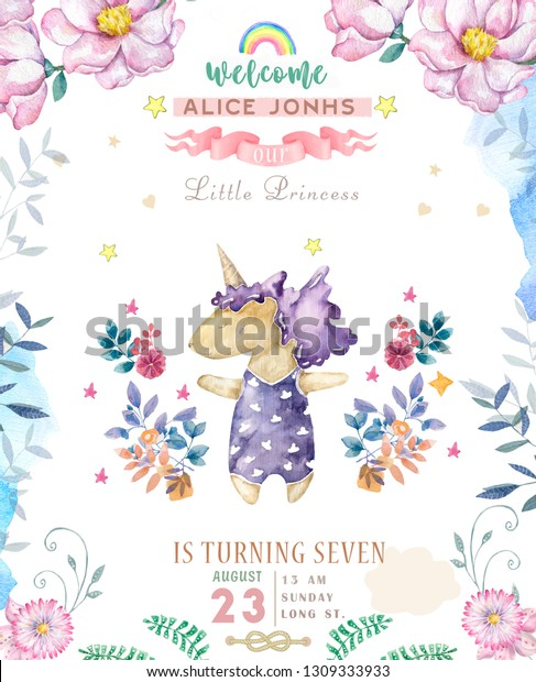 Watercolor Isolated Cute Watercolor Unicorn Clipart Stock