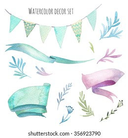 Watercolor isolated decor set: ribbons, floral elements, party flag garland on white background. Hand painted vintage style decorative objects for greeting, wedding, label design.