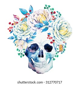 watercolor isolated, human skull with flowers, flowers, white roses and red berries, boho style, bright colorful print