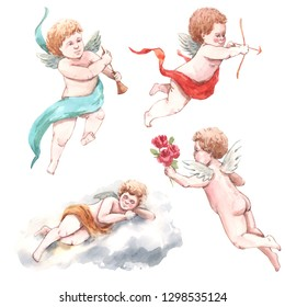 Watercolor isolated illustration of flying cute angel, cherub, putti