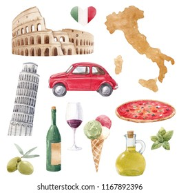 Watercolor Italian set , italy map, Colosseum and Pisa tower, red retro  machine, pizza, olives and lemon, attractions. ice-cream in wine
