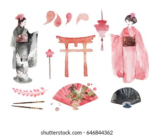 Watercolor Japan. Hand drawn Japanese elements of design:gate, geisha, kimono, sun, branch with berries, petals and a fan.