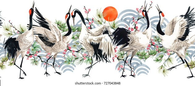watercolor Japanese Crane Bird seamless pattern.
