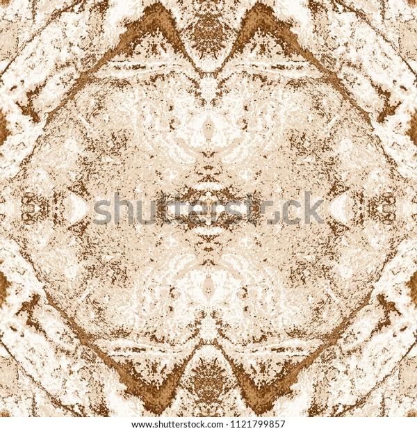 Watercolor kaleidoscopic pattern. Shibori print. Batik tie-dye. Abstract retro style decorative motif. Seamless tile pattern for fashionable fabric, furniture, cloth print, interior decoration