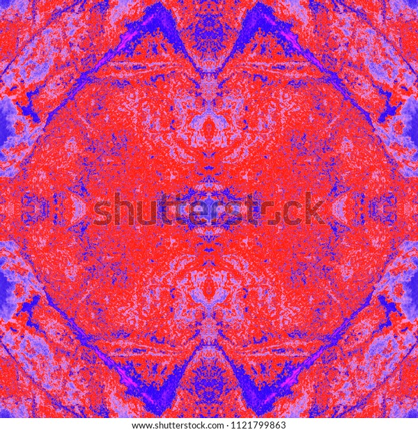Watercolor kaleidoscopic pattern. Shibori print. Batik tie-dye. Abstract decorative motif. Seamless tile pattern for fashionable fabric, furniture, cloth print, interior decoration