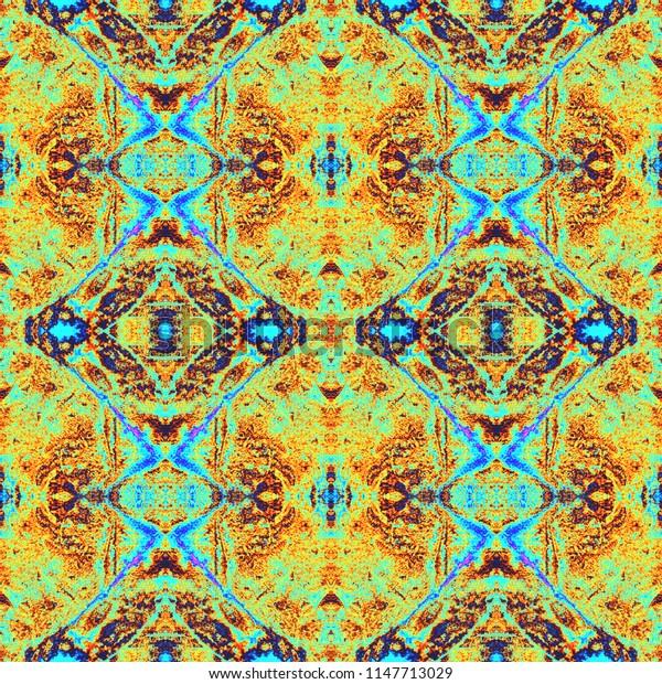 Watercolor kaleidoscopic pattern. Shibori print. Batik tie-dye. Abstract decorative motif. Seamless tile pattern for fashionable fabric, furniture, cloth print, interior decoration