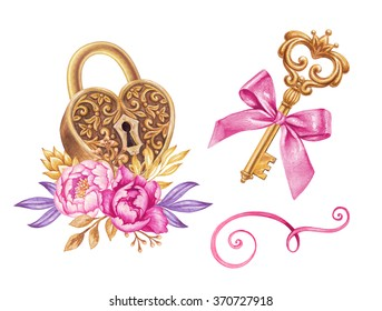 watercolor key, heart shaped lock and flowers, romantic illustration, valentines day design elements isolated on white background, festive clip art