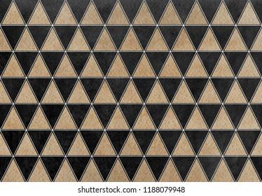 Watercolor khaki triangle pattern. Watercolor geometric pattern.
