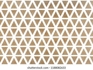 Watercolor khaki triangle pattern. Watercolor geometric pattern.