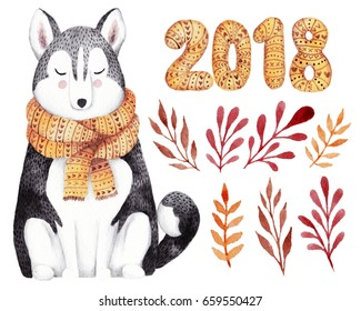 Watercolor kit for christmas or  new year 2018 greeting card. Hand drawn illustration with husky dog  and floral elements.
